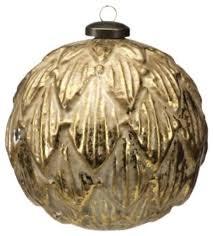 large leaf ornament gold set of 4