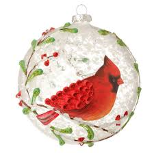 Glass Christmas Tree Ornament - amazon com red cardinal u0026 berry branches glass ball christmas
