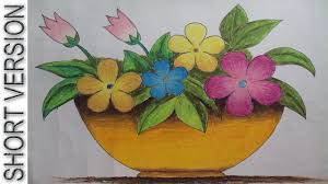 Pencil Sketch Of Flower Vase How To Draw A Flower Vase With Oil Pastel Short Version Youtube