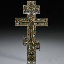 crucifix for sale russian enameled bronze crucifix sale number 2663b lot number