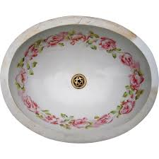 Sink Bowl Antique Victorian Era Porcelain Sink Bowl W Rose Pattern From