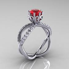 ruby and engagement rings 14k white gold ruby unique vine engagement ring