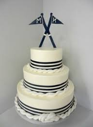 no anchor no sailboat just a simple white cake with nautical lines