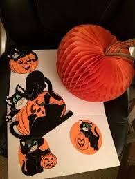 Vintage Halloween Decorations For Sale On Sale Vintage 1960s Halloween Black Orange Yellow H E Luhrs