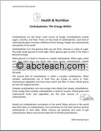 nutrition reading comprehension worksheets esol rt skills workshop