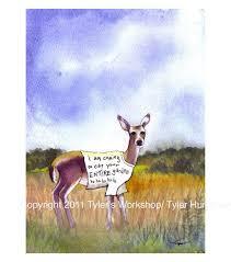 funny deer greeting card deer art garden watercolor