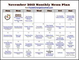 november menu plan 2013 recipe pocket change gourmet