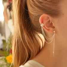 earring girl women girl stylish rock leaf chain tassel dangle ear cuff