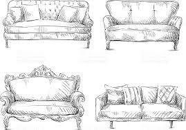 comment dessiner un canapé ensemble de canapés de dessin croquis style illustration