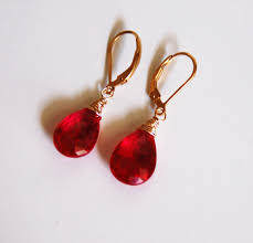 ruby drop earrings ruby quartz dangle drop earrings wedding jewelry bridal from