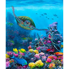 secret sanctuary hawaiian green sea turtle painting in oil for sale