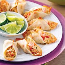 recettes de cuisines mini tacos de wonton au crabe et crevettes nordiques recettes