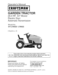 Crafstman by Craftsman Lawn Mower 917 276920 User Guide Manualsonline Com