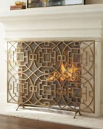 beauteous wrought iron fireplace screen design featuring 3 panel