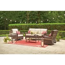 outdoor sitting hton bay park meadows brown 5 piece wicker outdoor seating set