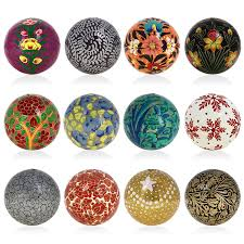 Handmade Home Decoration Items by Buy Set Of 12 Paper Mache Ball Christmas Hanging Decorations