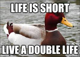 Life Is Short Meme - life is short live a double life malicious advice mallard quickmeme