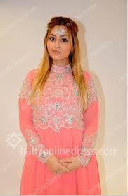 chiffon prom dresses pink a line high collar applique long sleeves