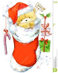 Invitation Card For New Year Cute Bear Christmas Card With Cute Teddy Bear Watercolor Teddy