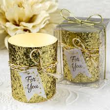 wedding favors or gold glitter candle wedding favors