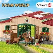 Toy Barn With Farm Animals Amazon Com Schleich North America Schleich Stable With Horses