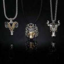 gold mens necklace pendants images Konstantino crowned lion silver gold mens necklace pendant jpg