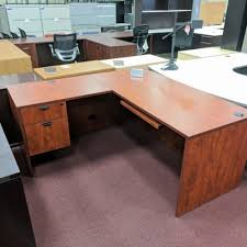 L Shaped Desk With Left Return L Shaped Desk Left Return Laminate Cherry W Retractable