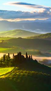 download wallpaper 750x1334 italy tuscany fields trees