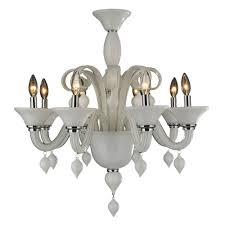 Glass Blown Chandeliers by Worldwide Lighting Murano Venetian Style 8 Light White Blown Glass