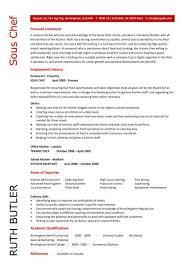 sous chef cv sample resume templates
