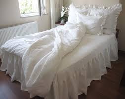 Shams Bedding Washed Eggshell White Ivory Linen Ruffle Sham Bedding King Duvet