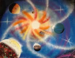 galaxy car paint 22 u2033 x 28 u2033 spray paint art five planets and galaxy swirl