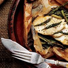 Asparagus Dishes Main Course - fish fillets in parchment with asparagus and orange recipe