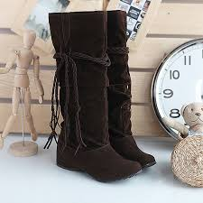 womens boots for flat elevated tassel wedge heel s mid calf boots shoes