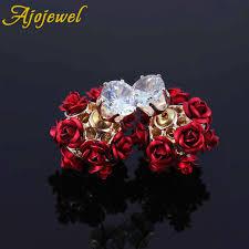 sided stud earrings aliexpress buy ajojewel fashion flower sided