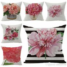 pink floral cushion cover beautiful flowers sofa chair bed throw