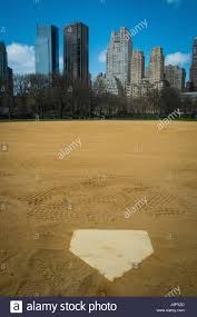 home plate baseball field and skyscrapers in new york city u0027s