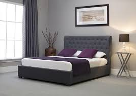 Grey Bed Frame Emporia Beds Kensington Wing Back Ottoman Grey Fabric Bed