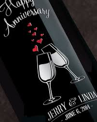 anniversary wine bottles mano s wine anniversary cheers etched wine bottle