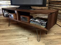 media console with glass doors hairpin legs mid century modern dark wood media console and tv