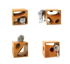 catable 2 0 stylish wooden cubes keep your cat entertained and