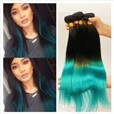 teal hair extensions peruvian ombre human hair silky 1b teal two tone hair