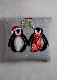 penguin light up christmas cushion 45cm x 45cm matalan deco