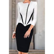 style round neck long sleeve spliced slimming pencil dress for