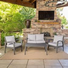 Patio Furniture Clearance Sale Free Shipping by Honolulu Outdoor 4 Piece Cushioned Wicker Seating Set By