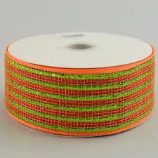 wide mesh ribbon 2 5 poly deco mesh ribbon deluxe wide foil lime orange stripe