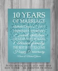 10 year anniversary gift ideas 10 year anniversary gift print wedding anniversary personalized
