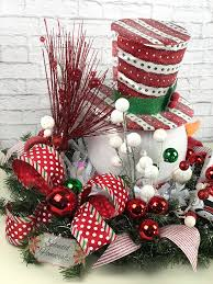 light up snowman centerpiece christmas centerpiece red top
