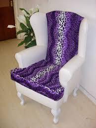 Leopard Armchair Leopard Animal Print Armchair Purple Bedroom Chair Queen Anne Wing