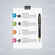 colored writing paper business infographic sheet of paper with pen and colored arrows business infographic sheet of paper with pen and colored arrows royalty free stock vector art